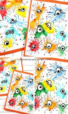 Make This Cute Germ Blow Painting Art With Straws -You can find Painting art and more on our website.Make This Cute Germ Blow Painting Art With Straws - Easy Art For Kids, Winter Crafts For Kids, Kids Crafts, Hero Crafts, Blow Paint, Chalk Paint, Art Mignon, Diy Projects For Kids, School Projects