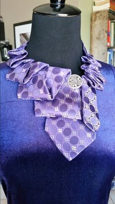 Beautiful necktie necklace made from an upcycled men's silk tie. Available at DesertPearlDesigns.etsy.com