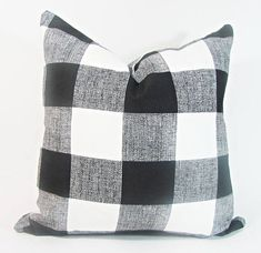 Anyarwot Designs - Buffalo Plaid Pillow Cover, Black and White - Decorative Pillows Navy Blue Throw Pillows, Black And White Pillows, Navy Blue Bedding, Plaid Bedding, Outdoor Pillow Covers, Throw Pillow Covers, Buffalo Check Pillows, Blue Plaid, White Plaid