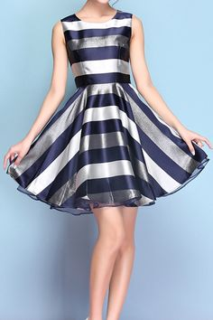 Color Block Stripe Sleeveless Dress