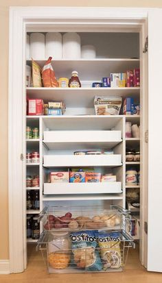 Closet Works Small Pantry Cabinet Example: Use of a pull out shelf for pantry storage was essential in this small pantry closet design. Pantry pull out shelves and baskets provide maximum organization and storage of food. Closet Pantry Shelving, Small Pantry Closet, Small Pantry Cabinet, Pantry Closet Organization, Small Kitchen Pantry, Pantry Room, Kitchen Pantry Design, Pantry Storage, Organized Pantry