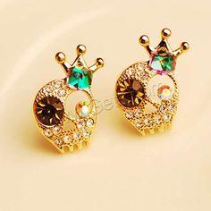 Zinc Alloy Rhinestone Stud Earring Skull gold color plated with rhinestone 15x20mm - Milky Way Jewelry