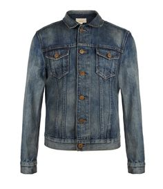 Bloomsbury Denim Jacket>>  Slim fitting trucker jacket in a medium indigo worn-in washed denim with distressed detailing at the collar and seams. The Bloomsbury Jacket has been made using narrow loom premium Japanese selvage denim, features all over high-lows and signature AllSaints branded rusty shank buttons.