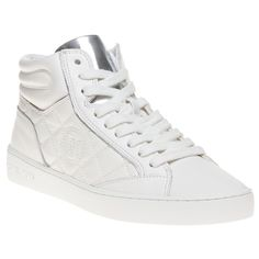 f702ccbf41117 Step out in fashion with these edgy Michael Kors high-top trainers. The  leather upper and bright white colour gives a cool sleek sporty look.