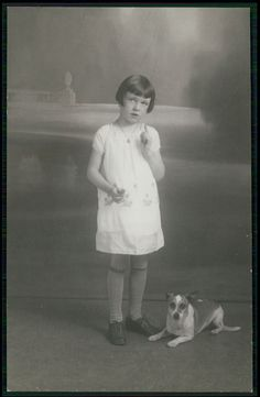 Photo child girl & Jack Russell Terrier Dog c1910s