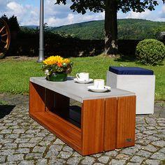 Ponto Coffee Table - Concrete, Bangkirai Wood - by CARVIDO #MONOQI