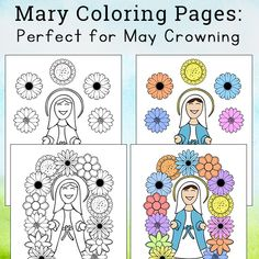 Mary Coloring Pages: Perfect to Use as May Crowning Printables Cool Coloring Pages, Bible Coloring Pages, Catholic Kids, Art Classroom Management, Bible Crafts, Crown, Mary, Free Printables, Real Life