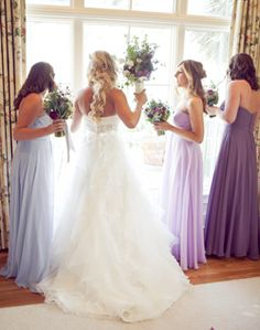 Love the bridesmaids in different shades of purple! You choose colour, you choose style.......we do the rest at Jessica Bridal, Auckland, NZ