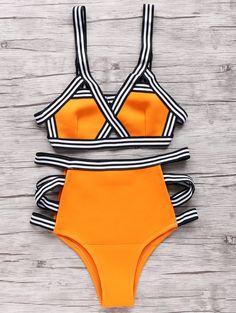 Color Block Bandage Bikini Set