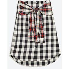 Zara Organic Cotton Shirt-Style Skirt (155 RON) ❤ liked on Polyvore featuring skirts, organic cotton skirt and zara skirt