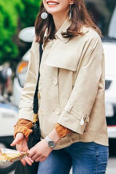 She's Light Khaki Button Front Jacket | Jackets at DEZZAL