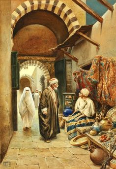 2 works; A bazaar in Cairo; Outside the mosque, Tunis - Vittorio Rappini