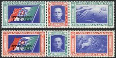 Italy, Sc.C48/C49, 1944 Balbo flight to Chicago, cmpl. set of 2 tryptics with 'I - QUES' overprint, mint lightly hinged, VF quality, catalog value US$285. Starting Price (11/2016): 107 EUR.