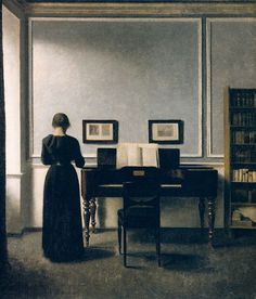 Vilhelm Hammershøi and Interior with Piano and Woman in Black