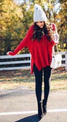 #winter #outfits / Red Knit // Grey Wool Beanie // Black Skinny Jeans // Black Ankle Boots