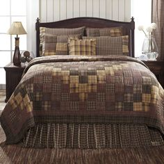 New Country Primitive Lodge PRESCOTT Brown Log Cabin Queen Quilt 3 pc Set #VHC