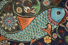 bohemian folk art orange aqua blue japanese good luck koi fish Duvet Cover by chicelegantboutique - Queen: x Nikon D7000, Tile Art, Mosaic Art, Mosaic Tiles, Folk Art Fish, Sea And Ocean, Photography Tutorials, Photography Tips, Oeuvre D'art