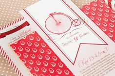 Chrystalace Wedding Stationery Red & White Hearts Invitation with stitched brown paper and string.