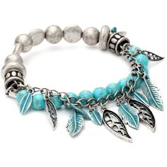 Nine West Vintage America Silver Ox and Turquoise Stretch Bracelet