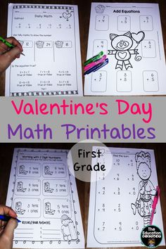 Valentine's Day Math Printables. First Graders. Over 100 pages.