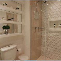 Construindo Minha Casa Clean — ✨Banheiro lindo com nichos espelhados,...