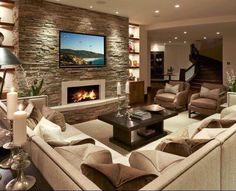 47 Family Room Design Ideas That Comfortable. While the kitchen may be the heart of your home, the family room is certainly its soul. The family room is a place in the home where you gather together w. House Design, Home Theater Design, House, Basement Decor, Family Room Design, House Styles, New Homes, Great Rooms, Basement Design