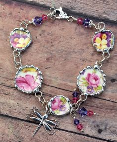 Broken China Jewelry Bracelet Pink Roses by Robinsnestcreation1