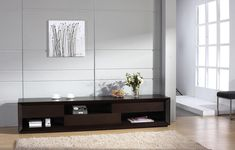 Modern Wenge Wood Finish TV Stand with Unique Storage Spaces