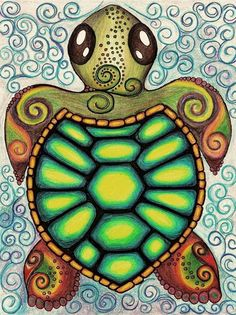 ☮ American Hippie Art ~ Sea Turtle