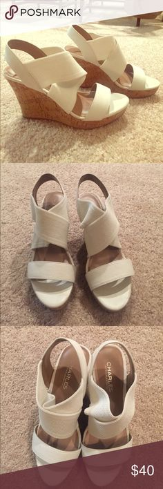 CHARLES by Charles David white wedges White wedge cork heels with stretchy straps. Super comfortable and worn once! Size 8 (runs true to size) and very light weight. Perfect for a summer wedding or party. Charles David Shoes Wedges
