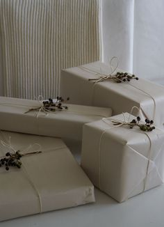 Packaging - Gift Wrapping - Holiday and Christmas present - newsprint, hemp string, and berries