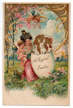Easter postcard - PFB - Cherubs Bunnies Lady #Easter