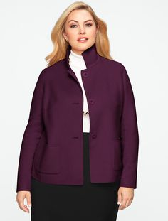 Talbots - Band-Collar Double-Faced Jacket | Jackets | Woman