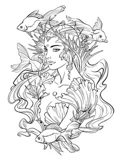 ALICE in WATERLAND Mermaid Coloring book for you by
