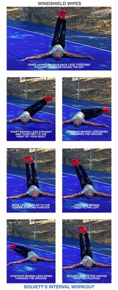 Windshield Wipes:  1) Start laying on your back legs together straight up, soles facing the sky. 2) Start moving legs straight and together to the right of your body. 3) Continue moving legs down towards the ground (until feet hover just above the ground). 4) Move legs back up to the center starting position. 5) Continue moving legs to the left. 6) Continue moving legs down towards the ground. 7) Return legs to the center starting position.   // #BiggestLoser #IntervalWorkout