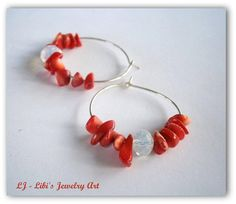 Silver hoop earrings with red coral stones and moonstone. Connect with the grounding energies mother earth and improve your vitality