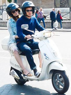 When in Rome! Emma Stone and Andrew Garfield travel Rome, Italy via scooter on Apr. 13