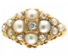 Victorian 18ct Gold Natural Split Pearl & Diamond Cluster Ring  Victorian (1839-1901)I A pretty Victorian natural split pearl and diamond ring of quatrefoil design set in 18ct gold.  HallmarksChester 1884 Date & OriginVictorian (1839-1901)