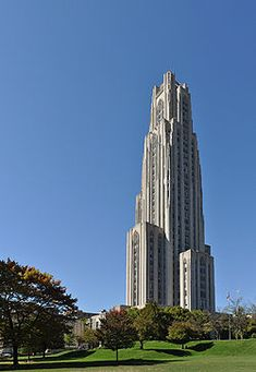 Cathedral of Learning:    Google Image Result for http://upload.wikimedia.org/wikipedia/commons/thumb/6/6b/Cathedral_of_Learning_stitch_1.jpg/250px-Cathedral_of_Learning_stitch_1.jpg