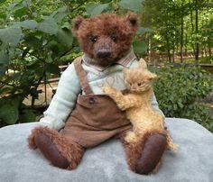 Mohair Bear Johnny Stout & His Kitten ~ Kate Berlin Old Time Teddies (08/21/2010)