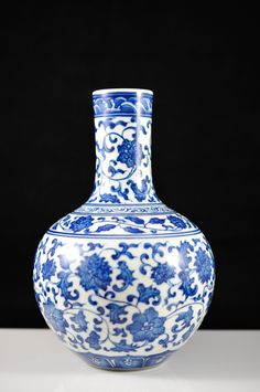 "DESCRIPTION: Antique Chinese blue and white wares flower vase. White under base color with blue cobalt oxide flowers and leaves. Excellent symmetry. CIRCA: 19th century ORIGIN: China DIMENSIONS: H: 8"" L: 5"