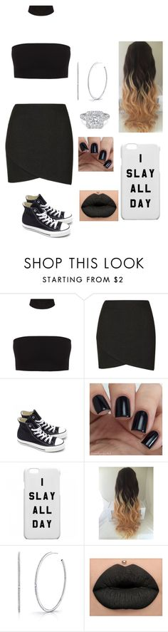 """""""Black Death"""" by takhya on Polyvore featuring Topshop, Converse and Shay"""