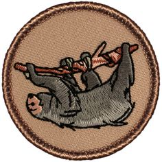 Sloth Patch 664 2 Inch Diameter Embroidered Patch by JeffBass