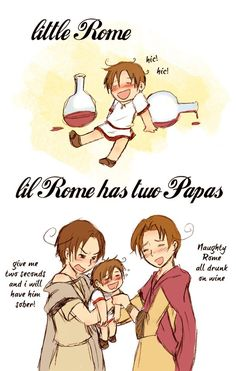 Hetalia Role-reversal - Little Rome and Papa Romano and Italy Hahaha I wonder what does Romano mean by having him sober in two seconds XD
