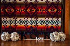 Wedding decor featuring a Pendleton blanket