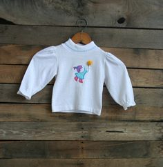 Vintage Children's Long Sleeve Shirt with Girl & Balloon