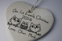 CUSTOM  Our 1st Family Christmas Heart by aphroditescanvas on Etsy