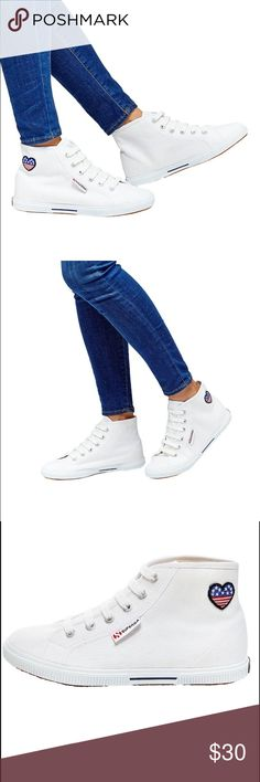 Heart Flag Patch High Tops These shoes are super cute and comfortable!! New with tags!! • Flat/no heel • Unlined canvas high-top sneaker • Lace-up closure with stamped metal eyelets • Cushioned insole, vulcanized 100% natural rubber outsole • Machine washable Superga Shoes Sneakers