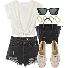 Style  #10550 by vany-alvarado on Polyvore featuring Converse, Made and Ray-Ban