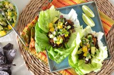 Black Bean Lettuce Wrap Tacos with Mango Avocado Salsa. Would be good with brown rice, too.